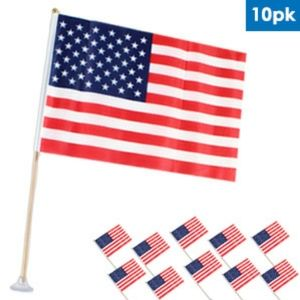 "8"" x 12"" american flag with suction cups 10 pk"